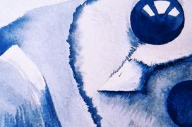 Búho azul (acuarela)